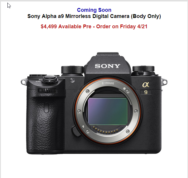 B&H Photo - The Sony Alpha a9 - Available for Pre-Order Friday, April 21st, 2017